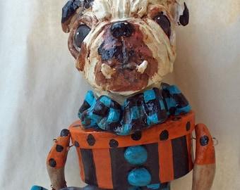 Whimsical English Bulldog Trick Or Treat Mini Candy Container. Ooak Folk Art