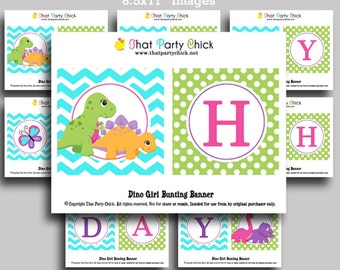 Dinosaur Happy Birthday Banner Printable for Girls - Instant Download - DINO-mite Collection