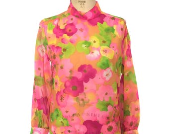 vintage 1970's sheer floral blouse / Camilla / neon bright bold / mock turtleneck / see-through / women's vintage blouse / tag size 12