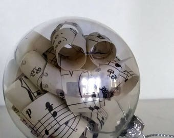 Sheet Music Glass Bauble, Christmas Hanging Decoration, Gift For Music Lover, Christmas Tree Ornament with Spiral Paper