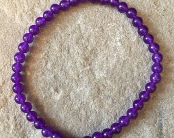 Amethyst semi precious gemstone 4mm bracelet