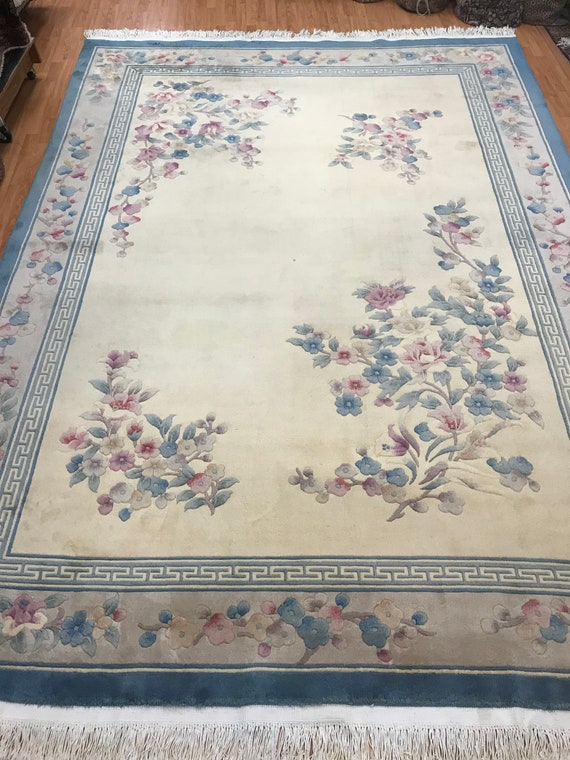"8'3"" x 11'6"" Chinese Art Deco Oriental Rug - Hand Made - Full Pile - 100% Wool"