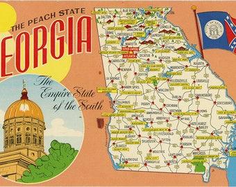 Georgia State Map Peach State Vintage Chrome Postcard (unused)
