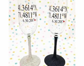 Longitude and latitude Engagement glasses