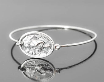 St Patrick Bracelet Bangle, St Patrick Jewelry, Catholic Jewelry, Sterling Silver Bangle Bracelet, Medal Bracelet bangle