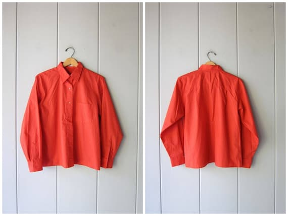60s Coral Orange Top Button Up Vintage Shirt Modern Collar Blouse MOD Bright Preppy Button Down Blouse Small Fit Oxford Womens Medium