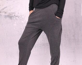 Harem gray pants,Gray  pants, long loose pants with pockets, pants, harem pants, trousers,woman pants,plus size pants, drop crotch,UM-014-VL