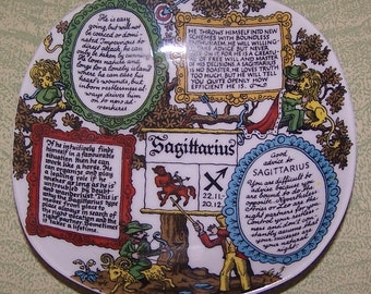 West German Western Germany horoscope zodiac Sagittarius plate bowl dish