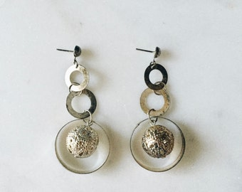 VTG Silver Oxidized Circle Hoop Drop Earrings 3""