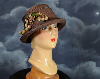 Vintage 1920s Gatsby Flapper Art Deco Straw Cloche Hat - Size Large