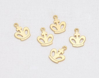 Crown Pendant Matte Gold-Plated - 4 Pieces [GG0050-MG]