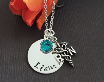 RN necklace- nurse necklace -personalize name and birthstone necklace - Registered / Nursing Student necklace