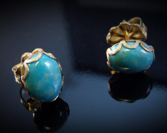 Art Jewelry Filagree 14k Gold Fill Natural Turquoise Post Earrings