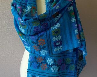 """Mexican rebozo shawl handwoven gauze Turquoise Amuzgos multi-color flowers Oaxaca elegant boho resort Frida Kahlo Style - 92""""Long x 24 1/2""""W"""
