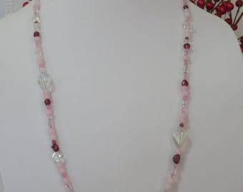 Rose quartz, freshwater pearl, crystal and glass necklace
