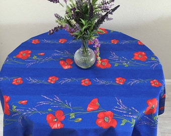 Blue Tablecloth, French Tablecloths, Floral Tablecloth, Poppies