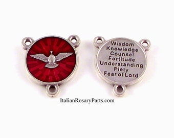 Holy Spirit Rosary Center Medal Red Enamel With Seven Gifts on Back | Italian Rosary Parts