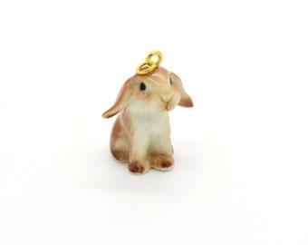 Tiny Porcelain Lop Ear Bunny Charm Rabbit Pendant Hand Painted Porcelain Charm Glass Bunny Charm Vintage Style Jewelry Supplies ()