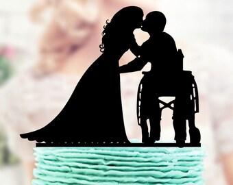 Wheelchair Wedding Cake Topper, Groom in Wheelchair, Wedding Cake Topper Silhouette, Acrylic Cake Topper , Bride Groom Topper