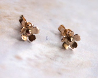 Mini 10k Gold Cherry Blossom Post Earrings with 10k Gold Ball in Center