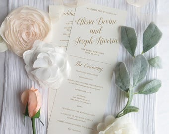 Wedding Programs    Ceremony program    Double Sided Programs - Style P120- GOLD PROGRAMS COLLECTION