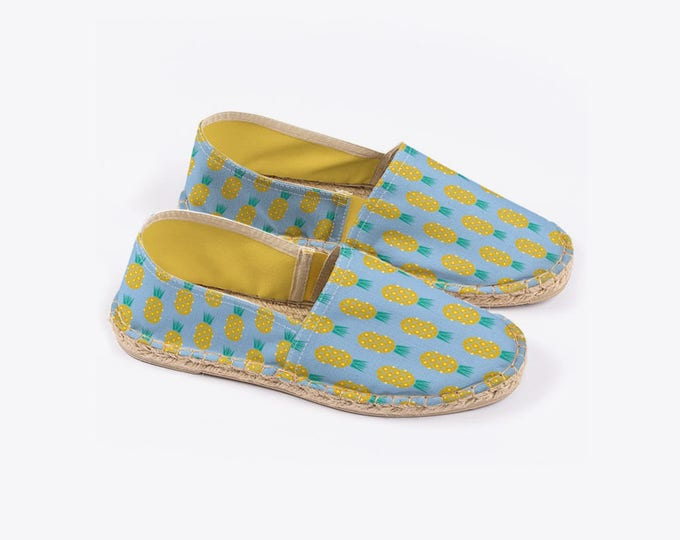 Disco Pineapple Unisex Espadrilles in Sky Blue