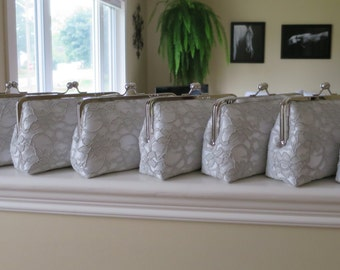 SALE 20% OFF Bridal Silk And Lace Clutch Set Of 8 Grey Clutches,Wedding Clutch,Bridesmaid Clutches,Bridal Accessories
