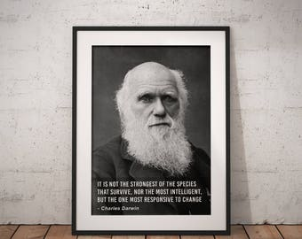 Charles Darwin, Species Quote, Quote poster, Typographic print, Science, Inpirational Genius Quote