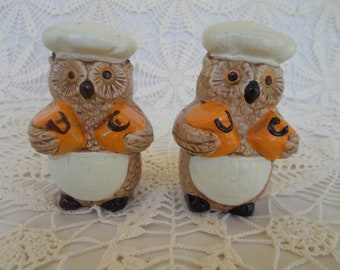 """Rare, Chef Owls, Salt & Pepper Shakers, Made in 1970s, Excellent Condition, 3 1/2"""" Tall, Made of Ceramic"""