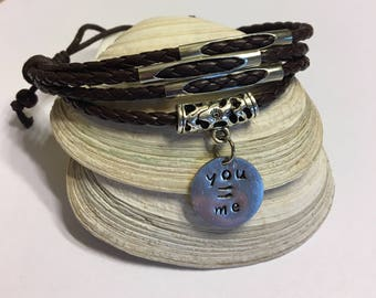 Brown Leather Bracelet with You = Me Charm