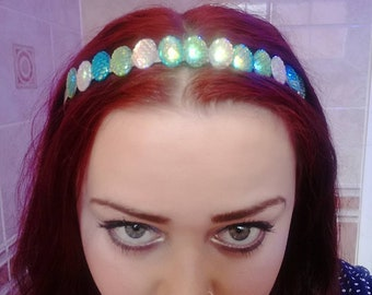 Holographic fish scale mermaid headband