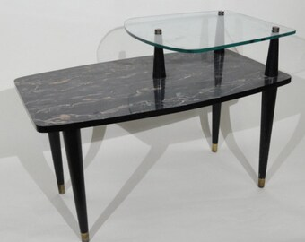 Faux Marble and Glass Atomic Lamp Table