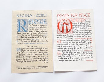 Antique English Holy Cards - Regina Coeli - Prayer for Peace - Westbrook - Printed in England