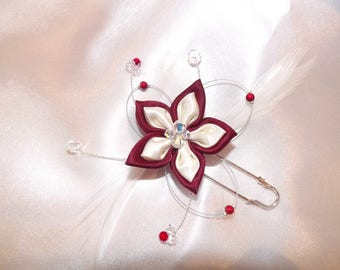 Ivory Burgundy train clip for bride