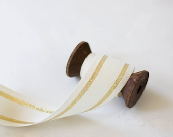 "Gold Metallic + Natural French Stripe Cotton Ribbon (with Wooden Spool) - 5 yards - 1.5"" wide"