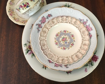 Vintage, Mismatched 5 piececPlace Setting for, weddings, tea parties, dinner parties, bridal , baby showers, hostess, bridesmaid gifts 6002