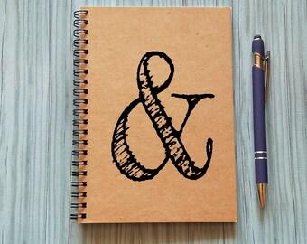 Journal, Notebook, Ampersand - 5 x 7 Journal, Scrapbook, Bullet Journal, Writing Notebook