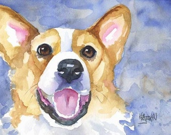 Welsh Corgi Art Print of Original Watercolor Painting - 11x14