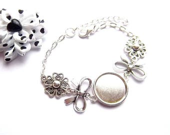 x support silver plated 18 mm, bow tie and stylized flower cabochon bracelet