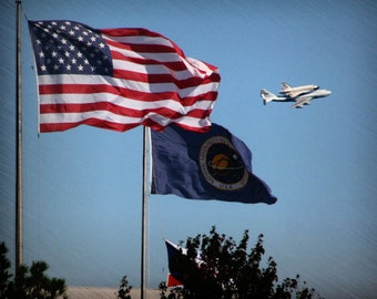 "Space shuttle photo, patriotic photograph, red white and blue -- ""Pride of America"", an 8x10-inch fine art photograph"
