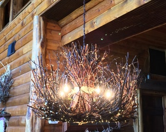 Shenandoah - 5 + 1  Down Light -  Rustic Chandelier - Twig Light Fixture - Vine Light - 300 LEDs Fairy Lights - OOAK