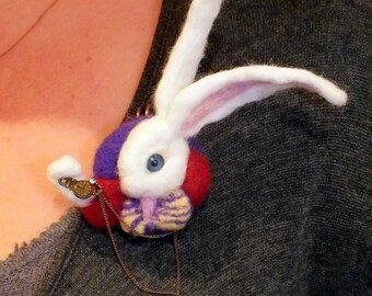 OOAK Needle Felted Brooch White Rabbit Alice in Wonderland Hare MADE to ORDER Accessories