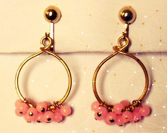 Perfect for Spring-  pink beaded Hoops - Vintage 1950's/60's New Old Stock - glass beads and gold tone metal ~ so pretty