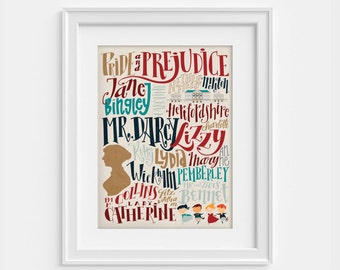 Jane Austen's Pride and Prejudice print with characters and places from the novel  (12,60 x 18,10)