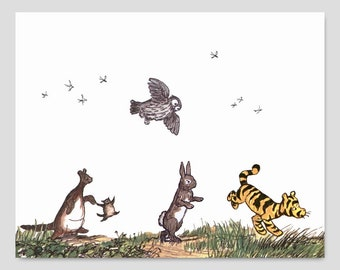 "Winnie the Pooh Wall Art (Boys Nursery Print, Girls Wall Decor, Tigger Kanga Roo, Rabbit Owl) Pooh Bear Artwork -- ""Listen to the Animals"""