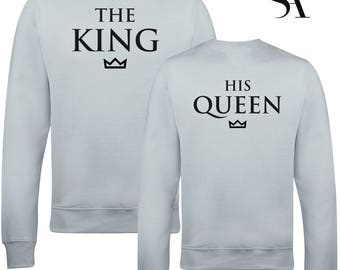 The King and His Queen Back Print Couple Sweatshirts