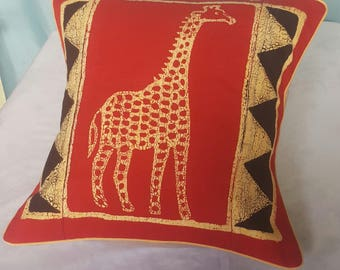 Golden giraffe-Red scatter cushion-Animal print throw pillow Made in Zimbabwe-Grandma's gift-Red gold and black pillow-African batik