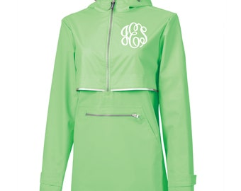 Green Monogram Rain Pullover, Monogram Rain Jacket, Charles River pullover, New Englander Pullover, Personalized Jacket