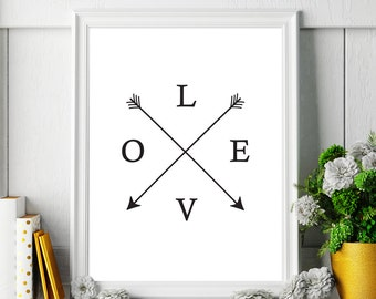 Wall Decor Home Decor: Love Printable Art Poster, Typography Print, Love Sign, Black and White Wall Art *Instant Download, Buy 2 Get 1 Free*