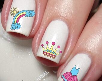 Princess Princesa for kids Nail Art Water Transfer decal sticker Tattoo 151